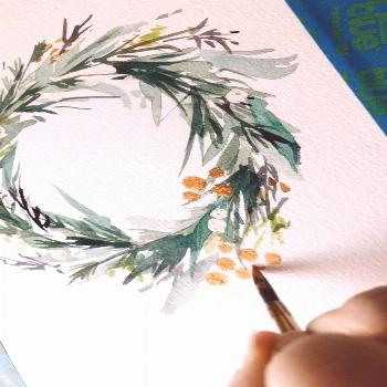 Gold Gouache Adding gold details to this holiday wreath by @leahbischstudio