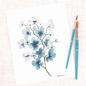 """Mandie • Watercolor Artist on Instagram: """"Dainty teal flowers for a friend recovering from jaw"""
