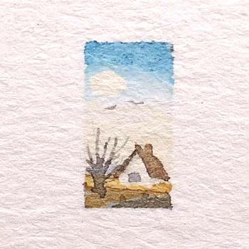 Miniature watercolor, body sketch painting, doll house painting, mini watercolor, small art, small