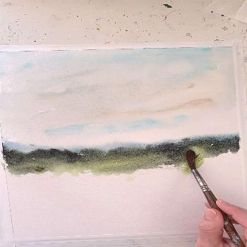 Process Video of Painting Wildflower Field  Watercolor landscape painting