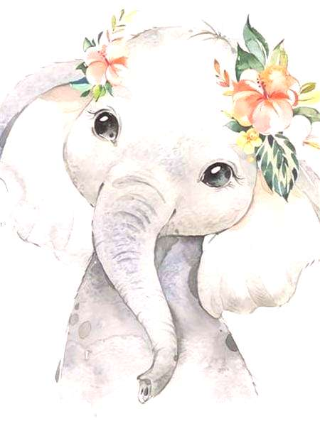 5D Diamond Painting Baby Elephant with Flowers Kit Offered by Bonanza Marketplace.