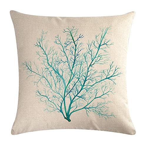 7COLORROOM Beach Coral Throw Pillow Cover Aquarelle Painting