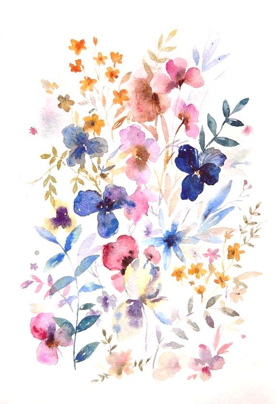 8x12 Abstract Flower Watercolor  Wild Flowers illustration  Original watercolor  Flower wall art  A