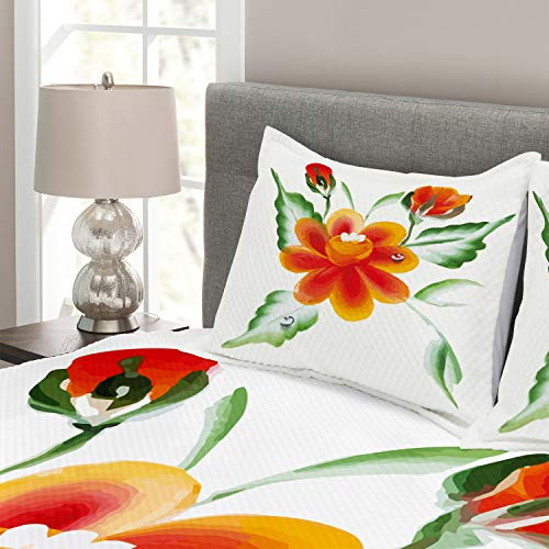 Ambesonne Garden Bedspread, Watercolor Painting of Daffodils