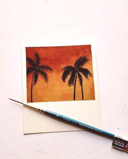 Beach landscape Making palm trees is my new favorite thing ☺️