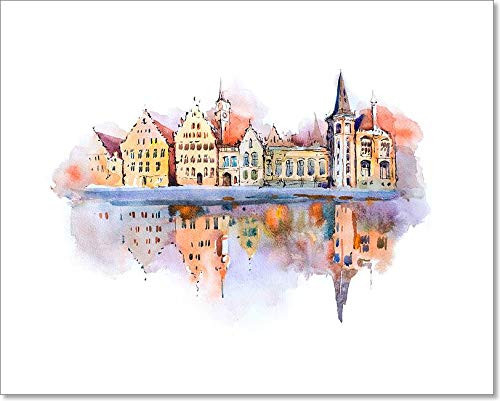 Bruges Cityscape Watercolor Drawing, Belgium. Brugge Canal