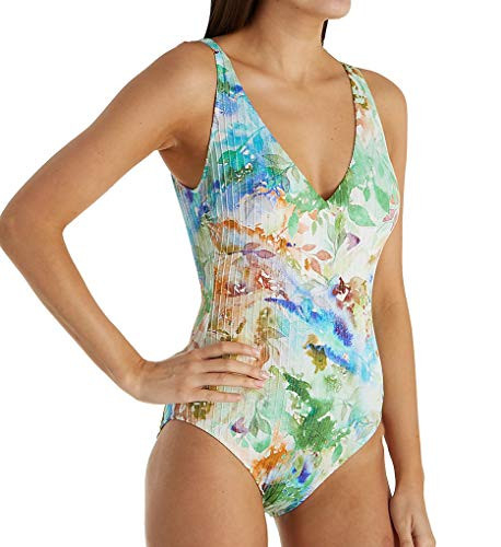 Gottex Womens Thick Strap V-Neck One Piece Swimsuit,