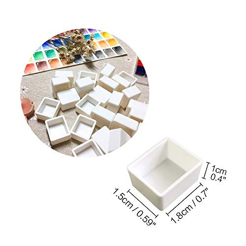 Watercolor Half Pans with Magnetic Stripe - 48Pcs White