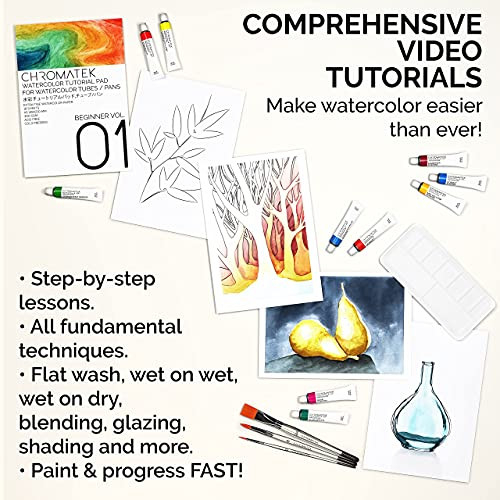 Watercolor Paint Set with Video Tutorial Series, 24 x